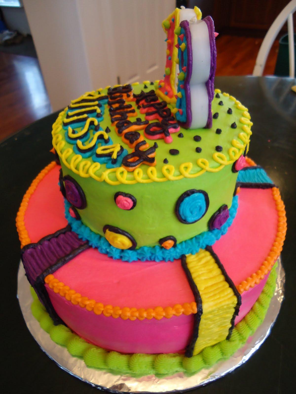 Cats Cake Creations Neon Lights Bright Bright Bright Birthday Cake