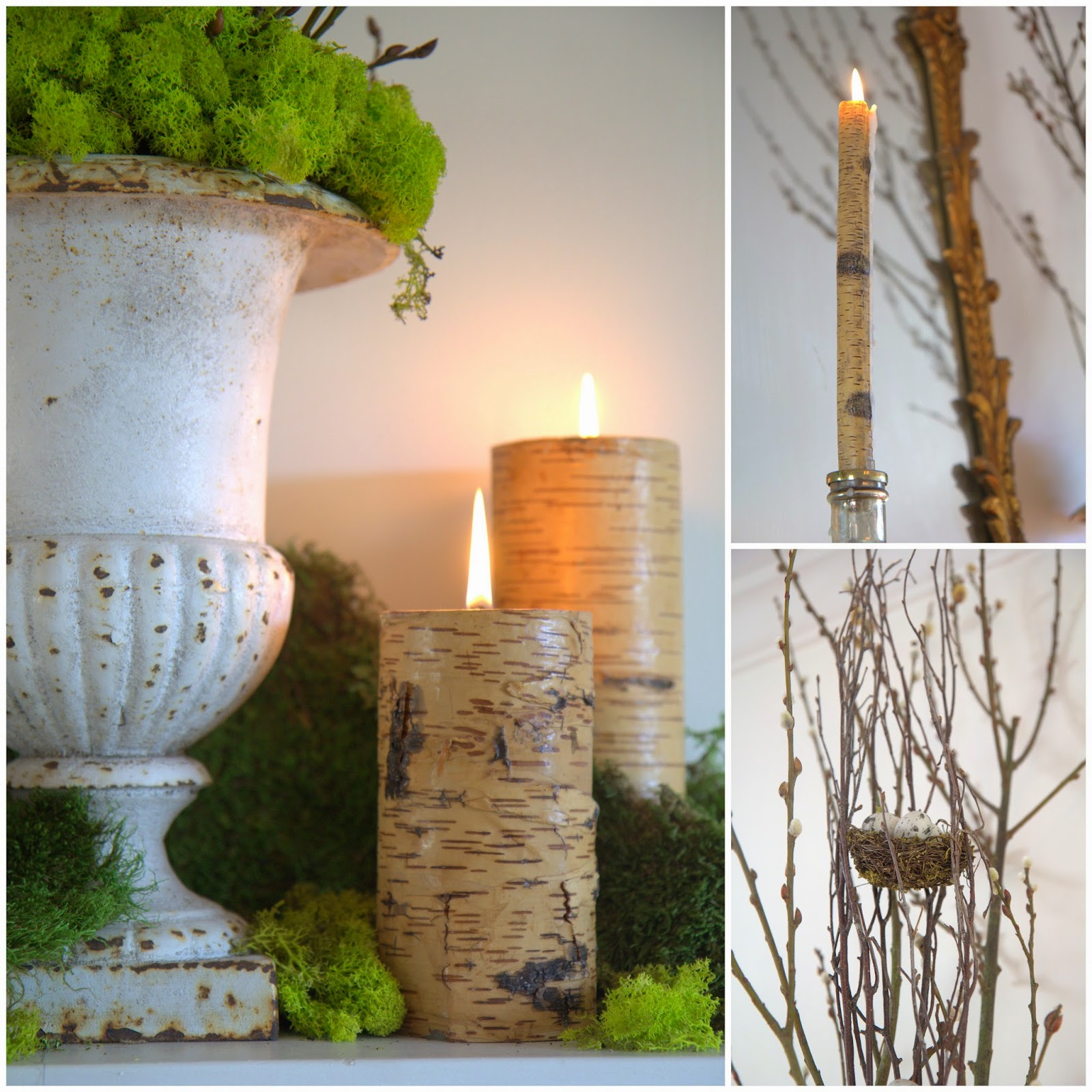 Woodland Party; Living Room mantle, bark candles, pussywillow branches, nest: Nora's Nest