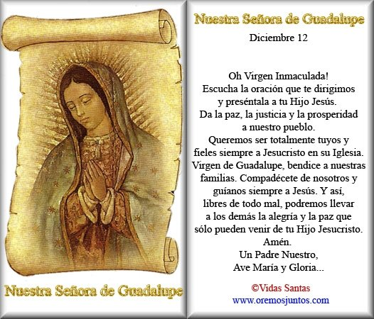 Oracion Para La Virgen De Guadalupe