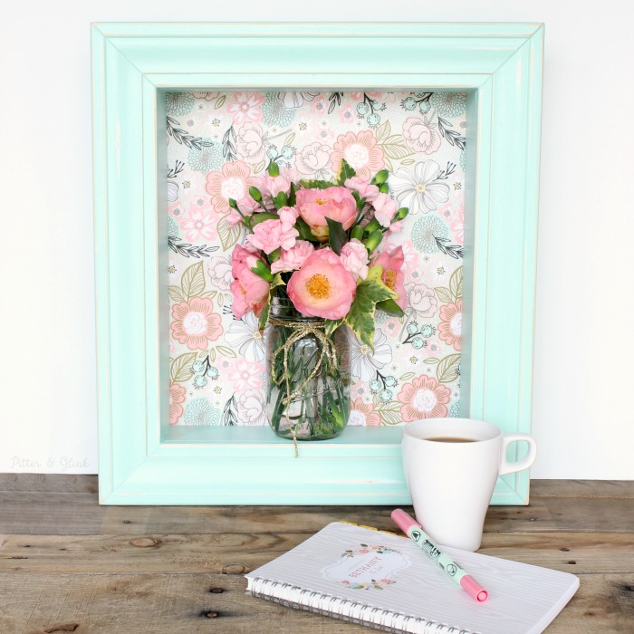 DIY Pastel Shadowbox Shelf Featuring Gift Wrap from Minted pitterandglink.com #sponsored