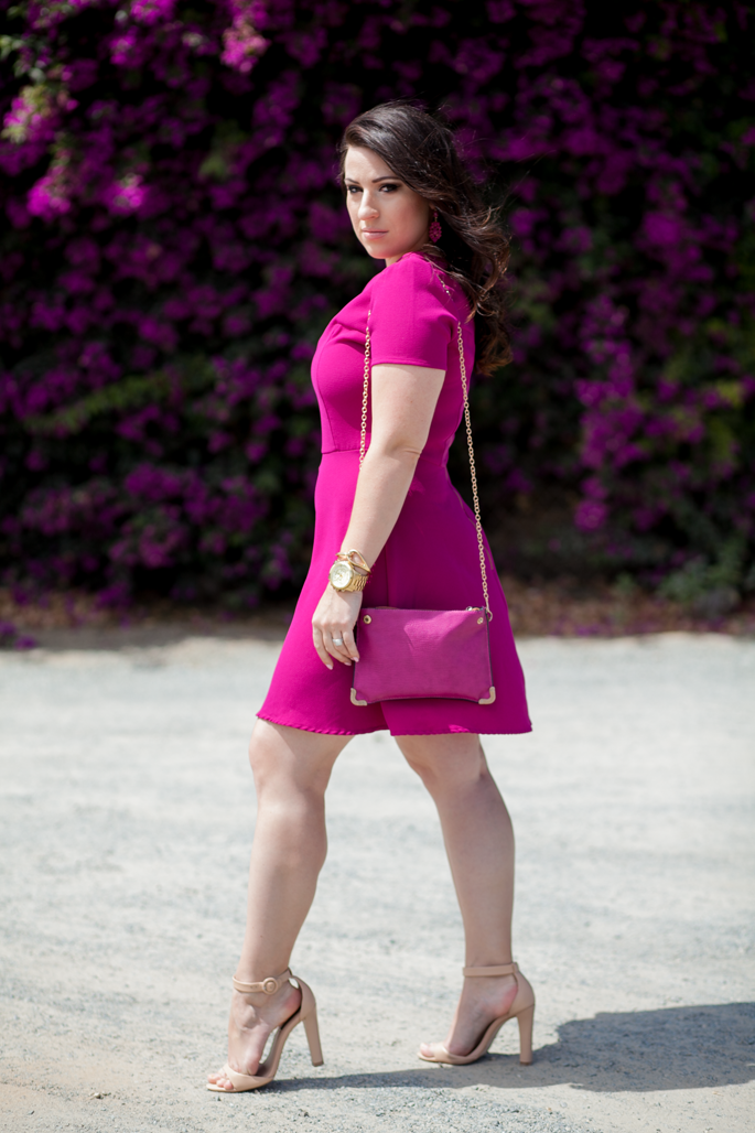 purple dress, purple flowers, summer outfit ideas, le tote