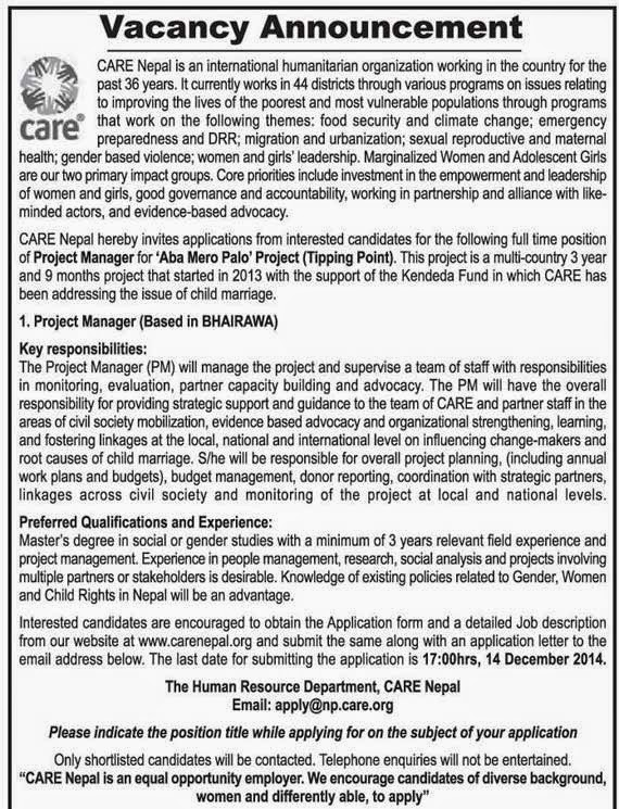 EducateNepal.com: Vacancy announcement for Project manager from CARE
