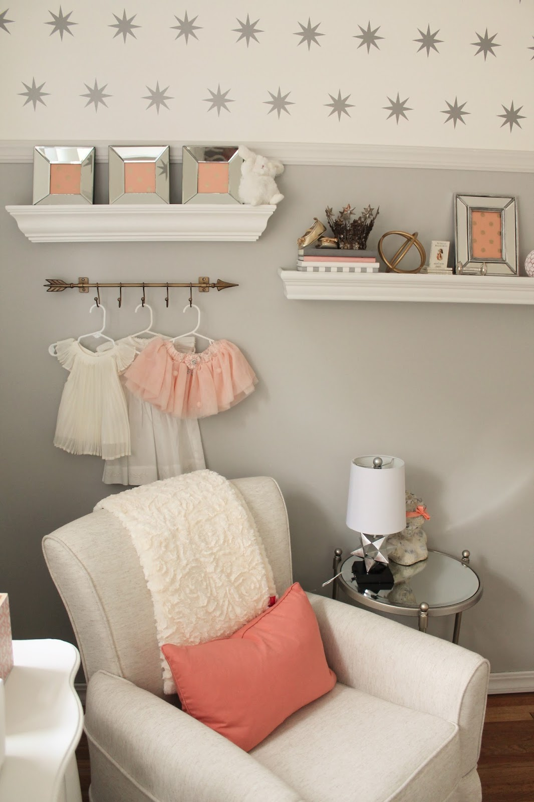 12th and white peach and gray nursery reveal for Blue and peach bedroom ideas