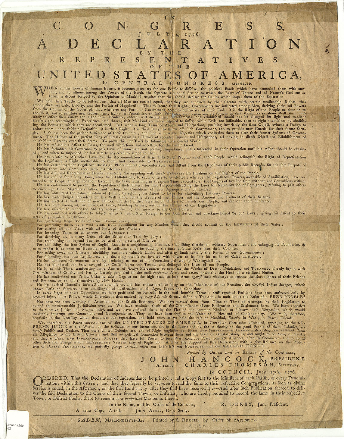 the declaration of independence in the united states and how it affected peoples rights