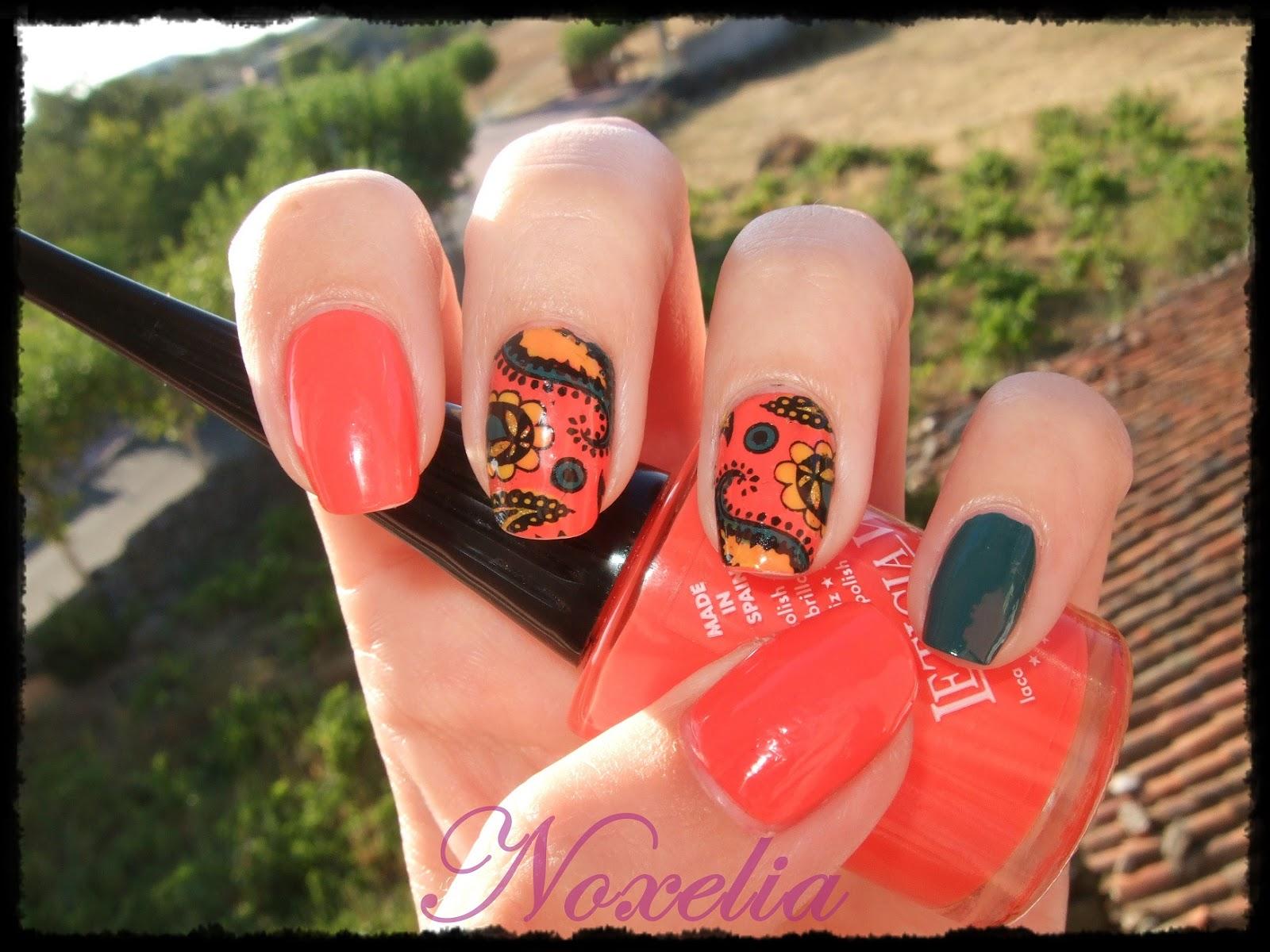 Noxelia: Stamping nail art: Look de uñas Nº 264. Reto Colores Naranja