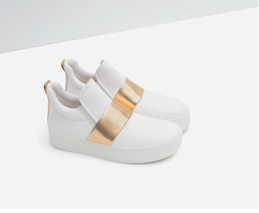 Posible clon deportivas blancas y doradas Zara