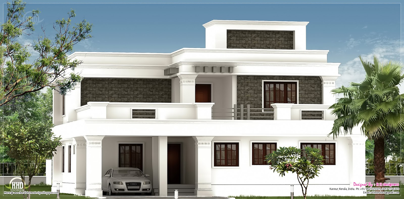 Flat roof villa exterior in 2400 kerala home for Home exterior design photos