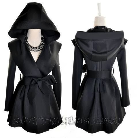 Hooded Belted No-buttons Trench Black Coat