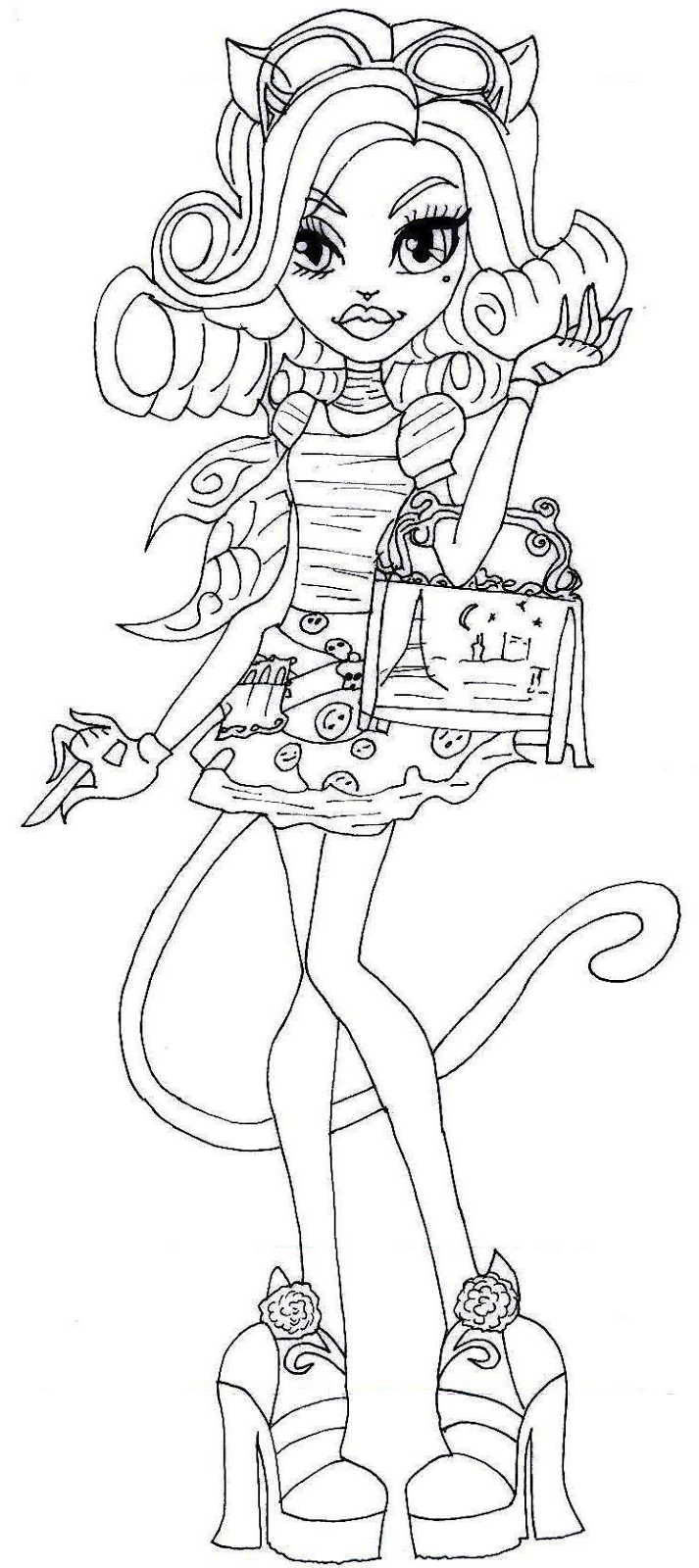 Adorable image with printable monster high coloring pages