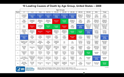 10 Leading Causes of Death by Age Group, United States - 2008