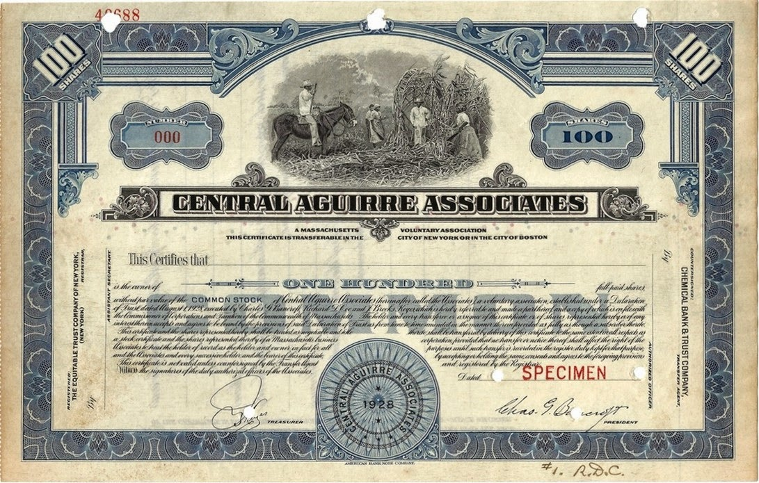 stock certificate of the Central Aguirre Associates, later renamed into Central Aguirre Sugar Company