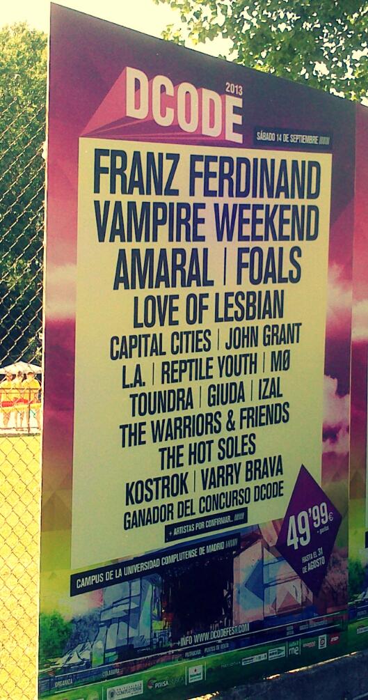 cartel, festival, música, DCODE 2013