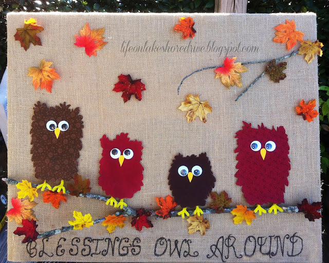 Fabric Owl &  Burlap Fall Decor Tutorial Thanksgiving Wall Art