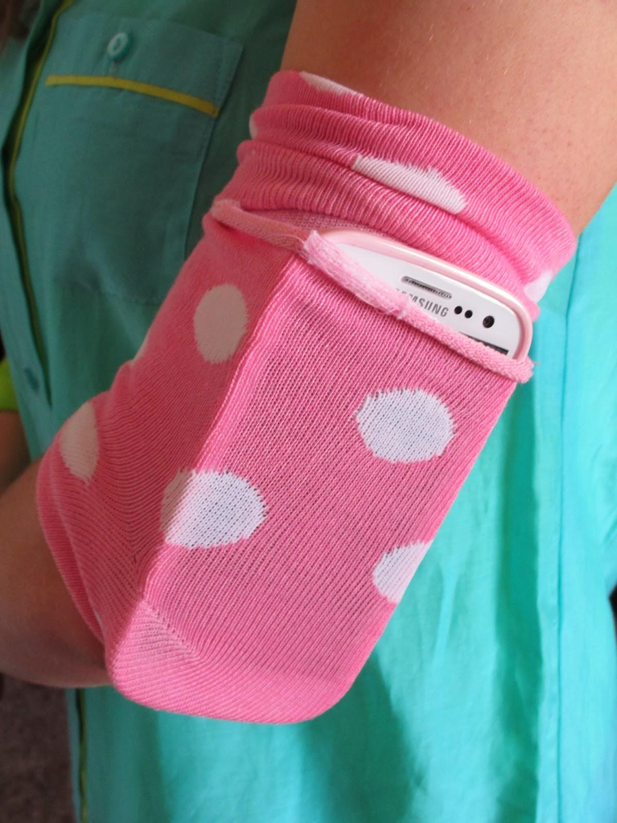 hot glue sparkle diy armband phone carrier made out of a sock. Black Bedroom Furniture Sets. Home Design Ideas