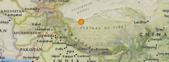 Epicentro sismo 6,9 grados en China, 12 de Febrero 2014