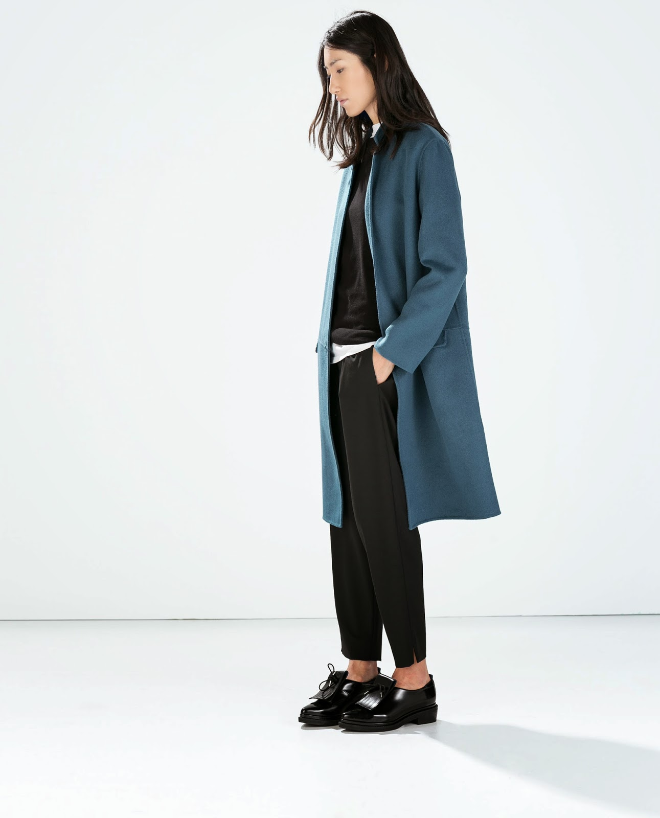 zara blue long length coat