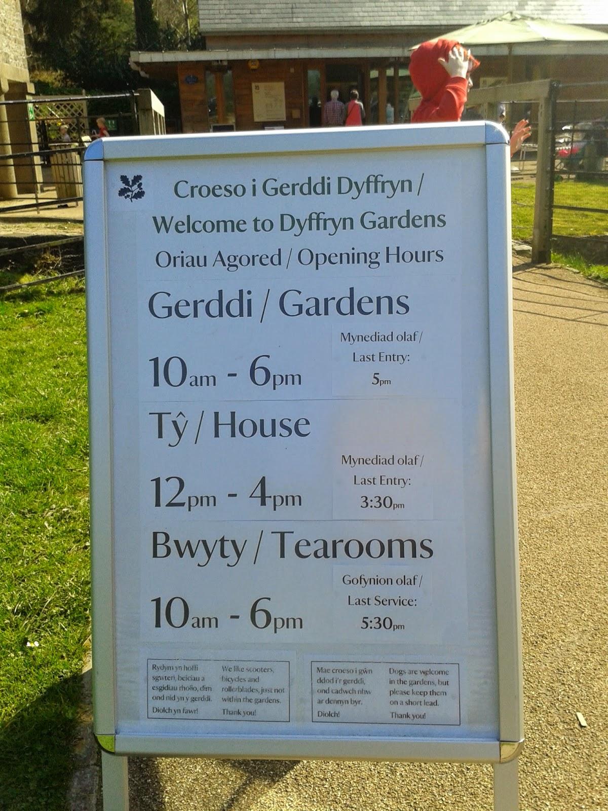 Dyffryn Gardens Welcome Board
