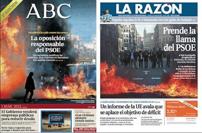 Portadas de ABC y La Razón sobre disturbios manifestación Barcelona