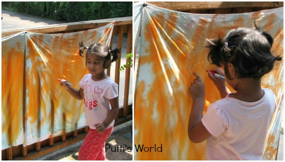 kids Spray Painting on Fabric