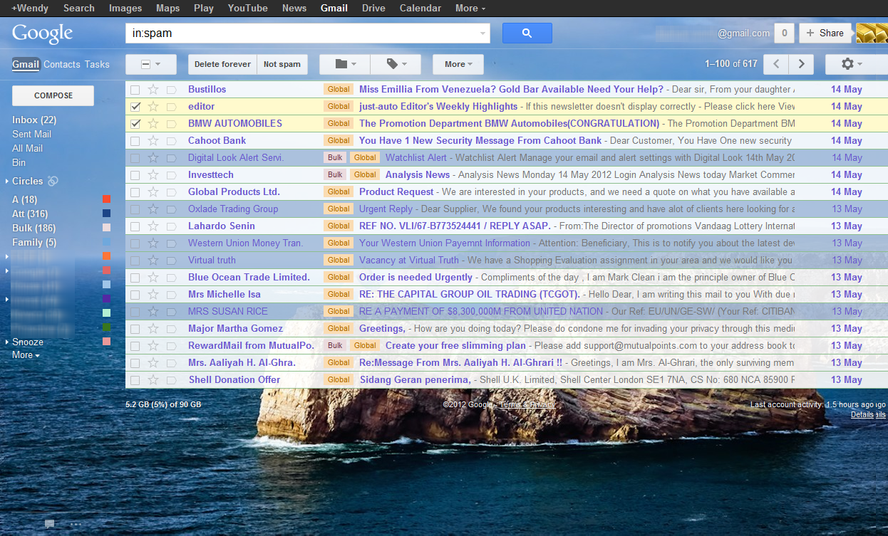 Gmail theme list