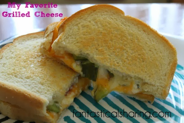 My Favorite Grilled Cheese | Two cheeses, pickles, and tomato make a delicious grilled cheese #recipe
