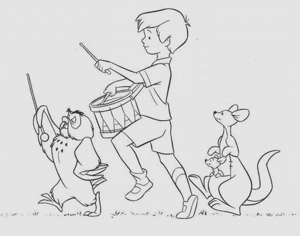 Christopher Robin and Pooh Coloring Pages