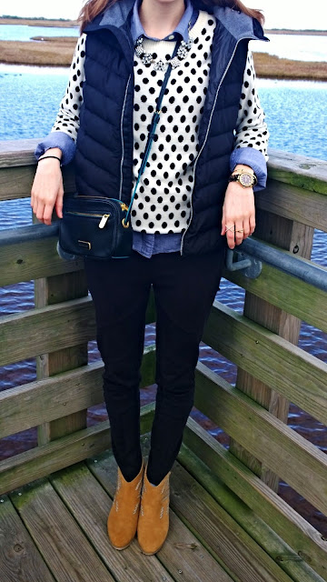 Polka Dot Sweater Layering with Chambray Button Down