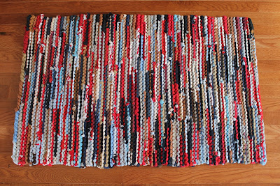 Americana tshirt rug rag rug red white and blue artisan upcycled OOAK