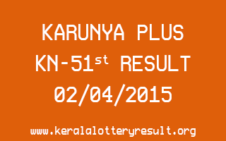 Karunya Plus KN 51 Lottery Result 2-4-2015