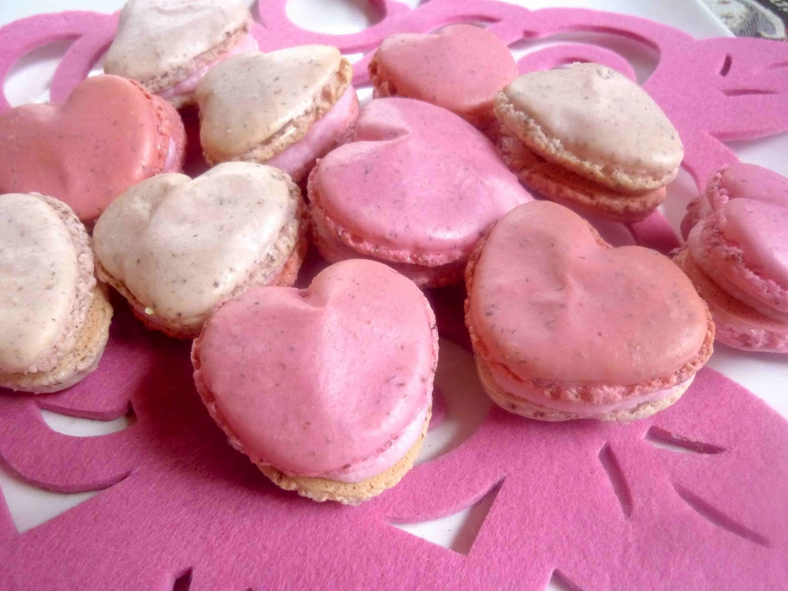 ... Pink Heart French Macarons with Raspberry Vanilla buttercream Filling