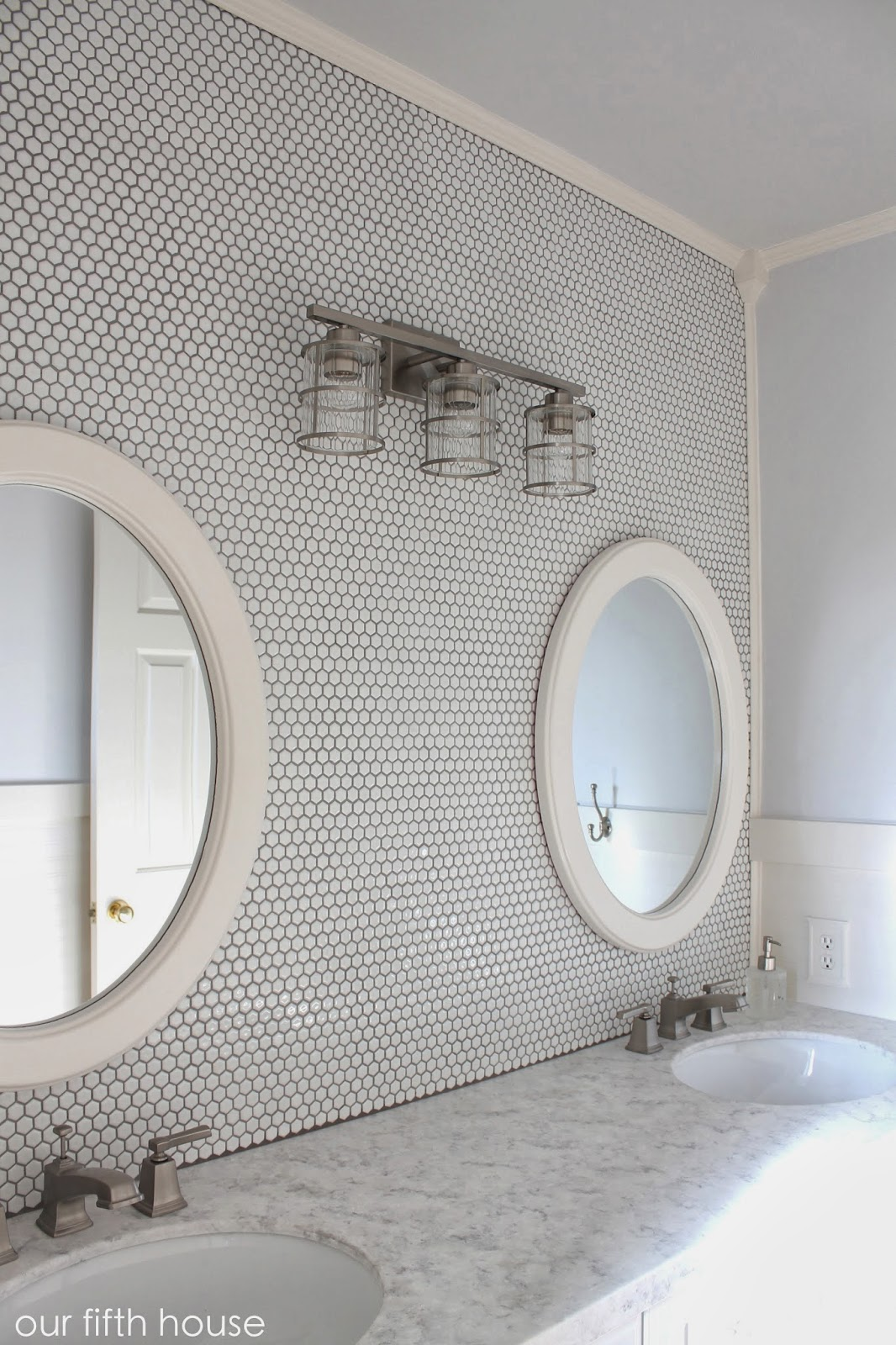 bathroom hexagon tile wall