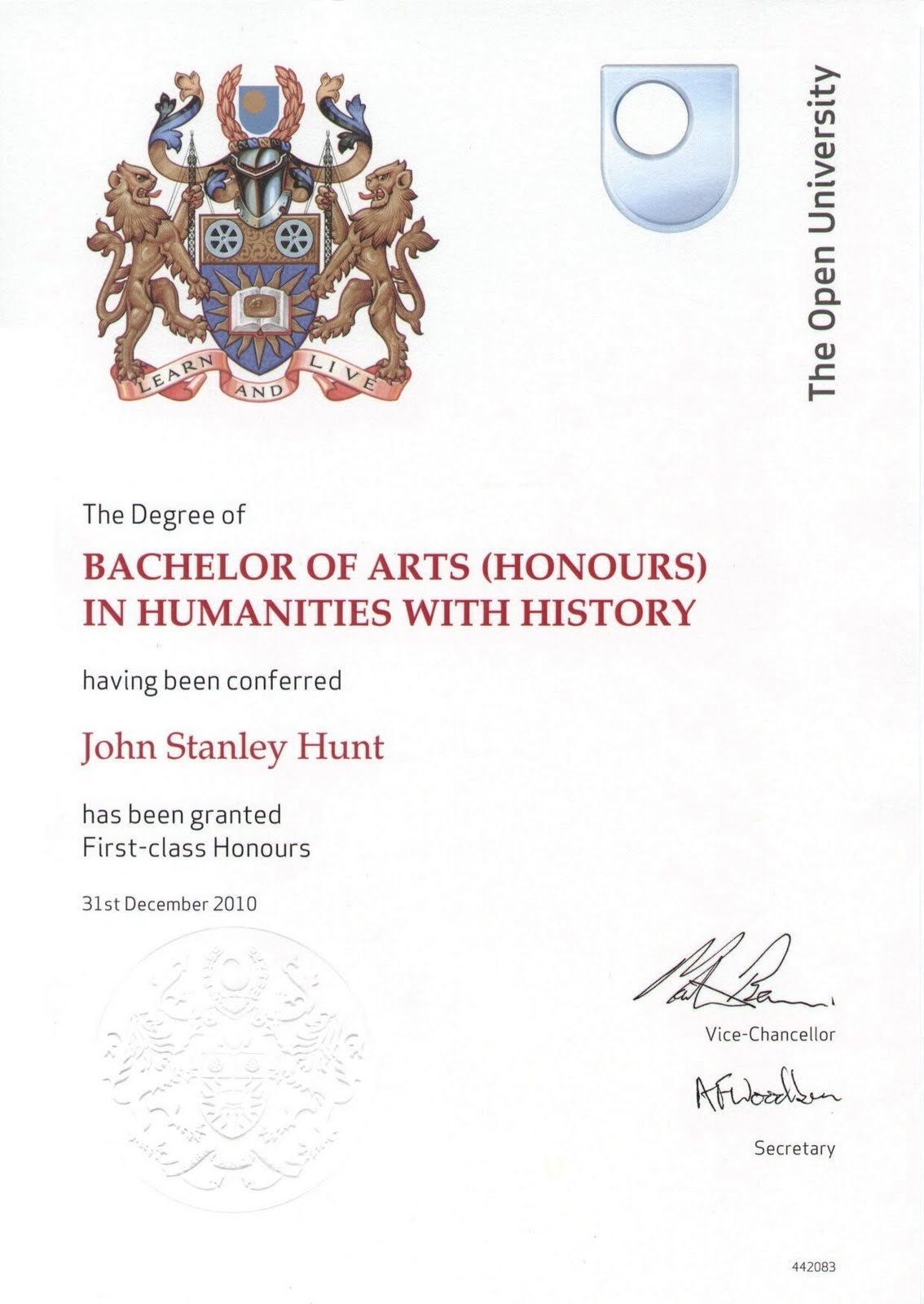 not  sxr207 at durham  degree certificate