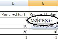 Fungsi MONTH di Excel