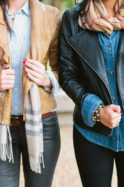Fall outfits in with denim and leather