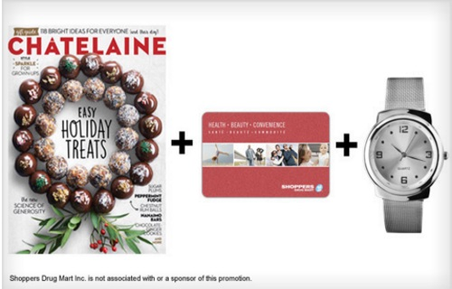 Wagjag Chatelaine Subscription + $5 Shoppers Drug Mart Gift Card + Stylish Watch $20