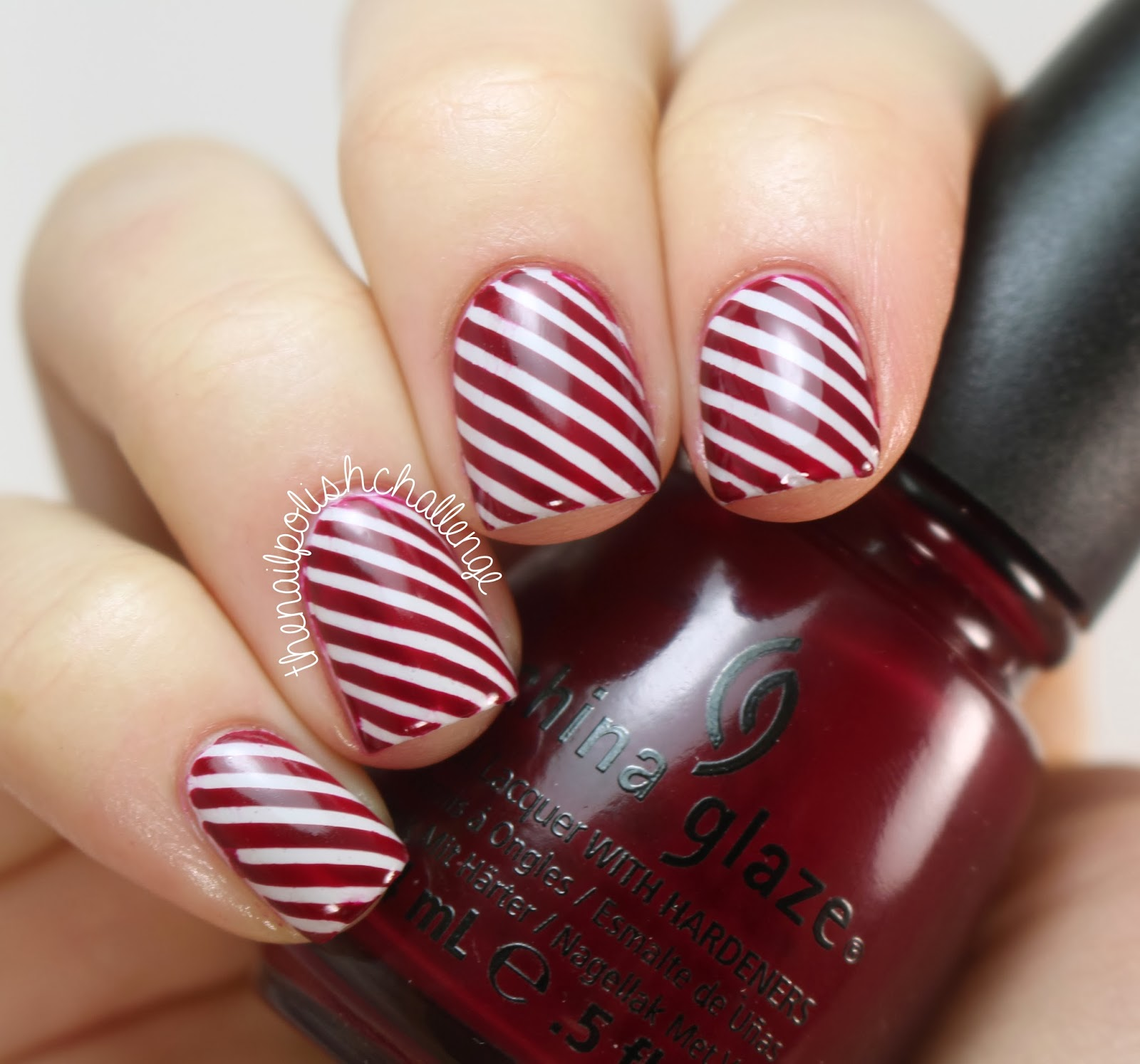 Concrete And Nail Polish Striped Nail Art: The Nail Polish Challenge: Candy Cane Striped Nail Art