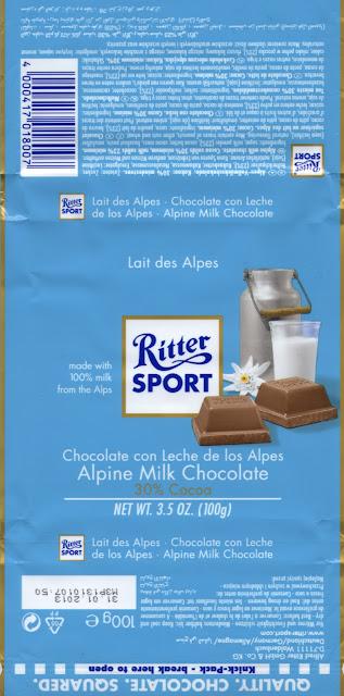 tablette de chocolat lait dégustation ritter sport lait des alpes