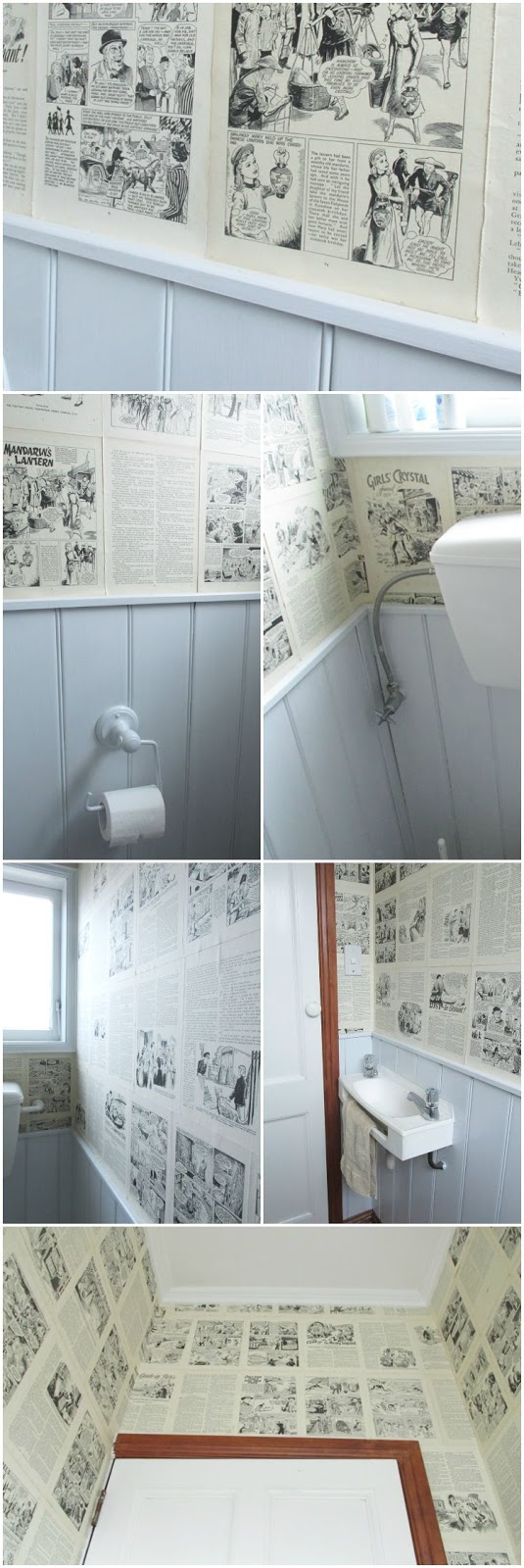 Quirky toilet makeover - an interesting view wherever you sit (or stand)