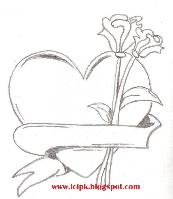 Heart with flower pencil drawing