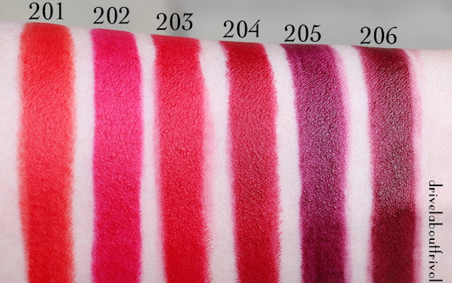 YSL Rouge Pur Couture Les Mats matte lipstick swatches 201 Orange Imagine, 202 Rose Crazy, 203 Rouge Rock, 204 Rouge Scandal, 205 Prune Virgin, 206 Grenat Satisfaction