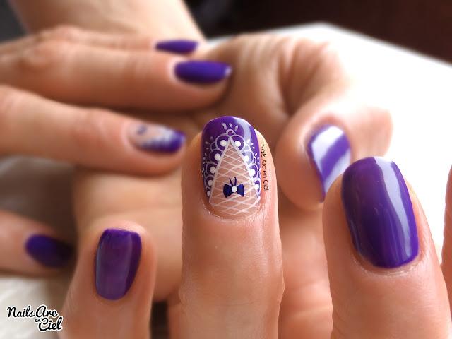 Nail art féminin dentelle et résille sexy par Nails Arc en Ciel