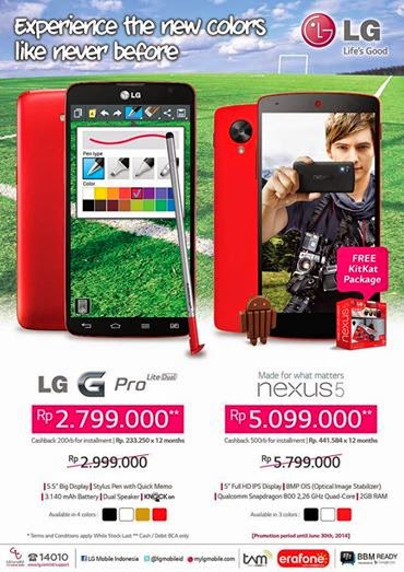 Promo LG G Pro Lite Dual dan Nexus 5 di Erafone