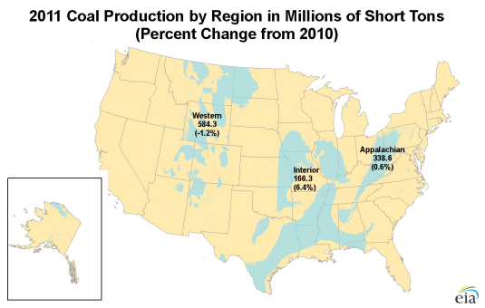 Oil Peak US Coal Production Falls In - Oil production map us