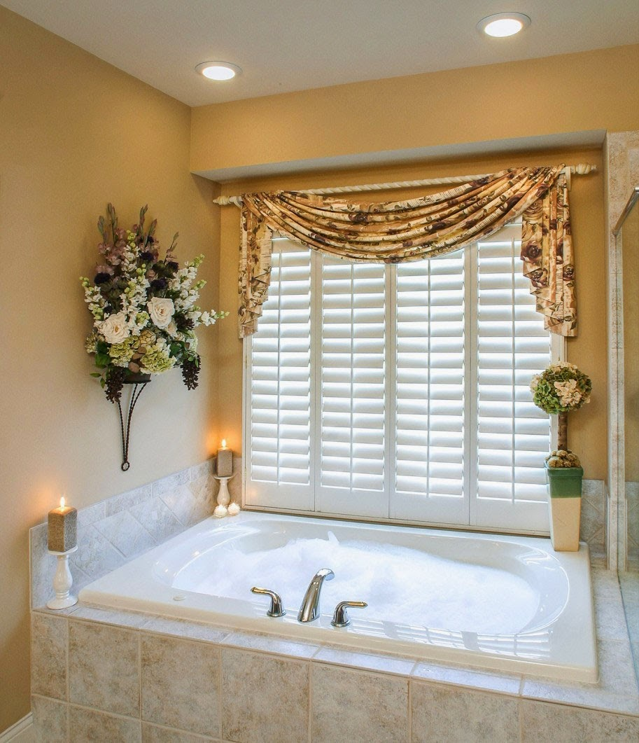 Curtain ideas bathroom window curtains with attached valance for Bathroom window treatments