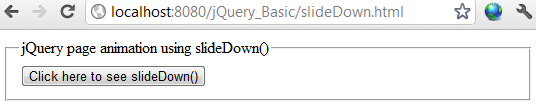 jQuery slideDown effect example