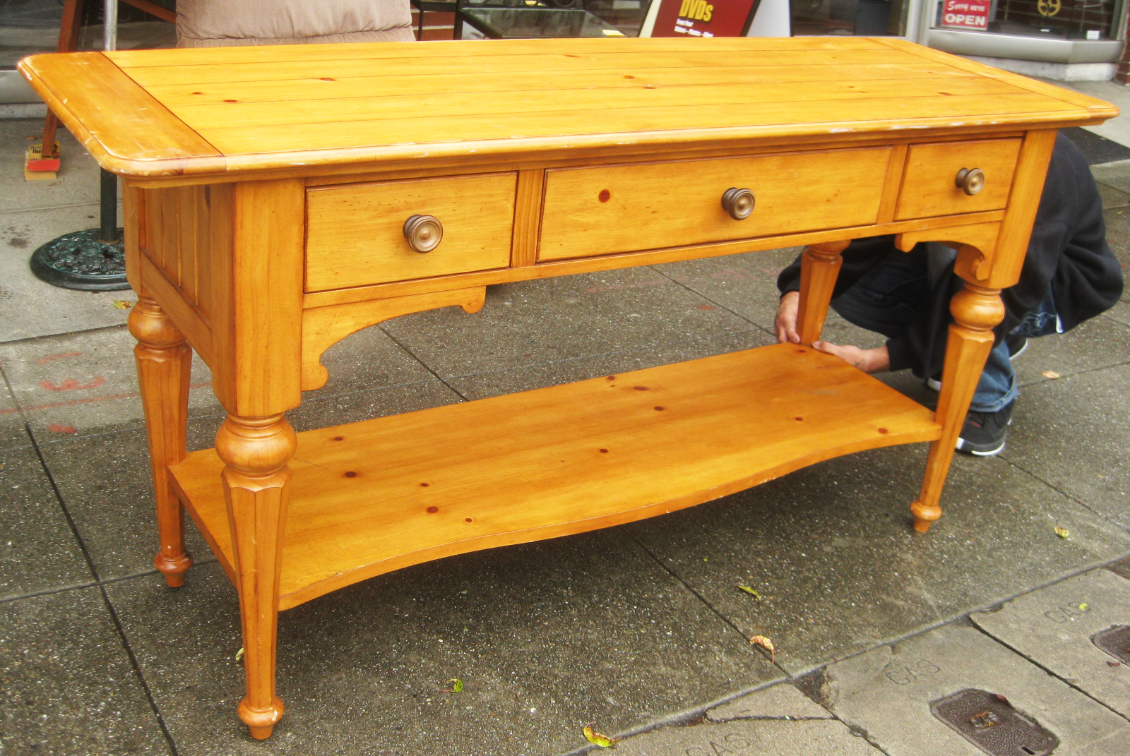 Exceptionnel SOLD   Large Knotty Pine Console Table (as Is)   $140