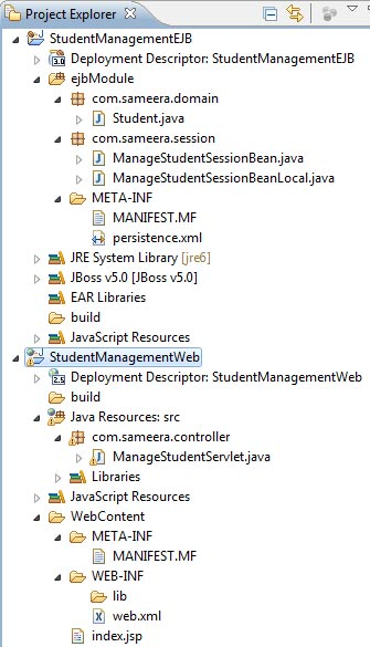 EJB application project structure in Eclipse