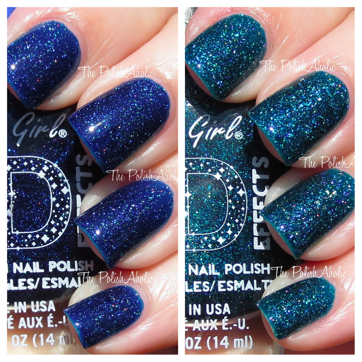 The PolishAholic: LA Girl 3D Effects: Brilliant Blue & Teal Dimension