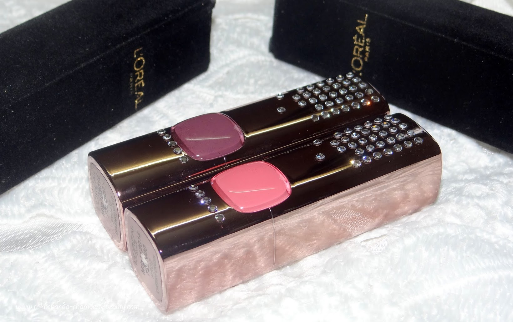 L'Oreal Paris Color Riche Swarovski Moist Matte lipsticks- review, swatches & price in India, Limited Edition Cannes 2015 Collection, L'Oreal Paris lipsticks, Arabian Night, Cherry Crush, Indian Beauty Blogger