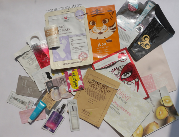 22 speed reviews of sheet masks and samples for the month of August 2015. Banila Co it Radiant Lace Hydrogel Eye Patch - Illuminating & Lifting - Ceramide & Rose with White Flower Complex  Review, Benton Snail Bee High Content Mask Pack Review, Cremorlab Herb Tea Blemish Minus Calming Mask Review, Derfill Zoo Tiger Real Mask Collagen Review, Innisfree It's Real Squeeze Mask in Kiwi Review, Leaders Insolution Baby Soft Foot Mask Review, Mediheal Dress Code Red Ginseng Brightening Care Review, Mediheal W.H.P. White Hydrating Charcoal-Mineral Mask Review, Too Cool For School Glam Rock Abracadabra Mask Review,
